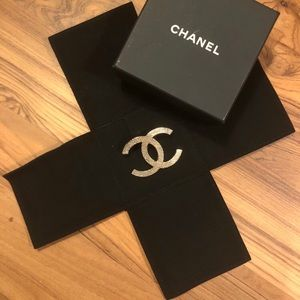 Authentic Chanel XL Brooch CC Logo Brushed GHW
